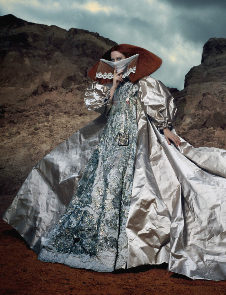 glamandvanity:  Karen Elson by Daniele Duella and Iango Henzi Dress: Christian Lacroix Haute Couture F/W 2008/09 i-D Fall 2012
