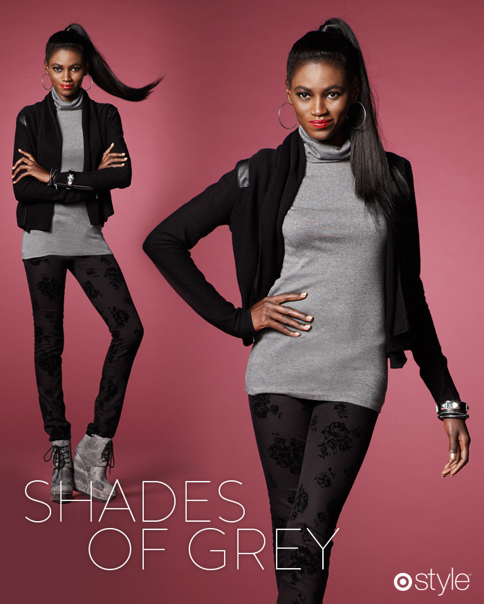 "Tai's Target 10: Shades of Grey ""Wearing black has always been a go-to, but this Fall especially if you're wearing it, you're hot. The brocade print in the pants was all over the runways."" -TB own it now: gray turtleneck. black cardigan with leather details. black printed pants & gray cosmic wedges (shop in store)."