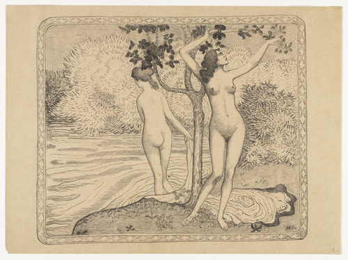 drunkcle:  Two Nude Bathers Under a Tree at the Water's Edge (Deux baigneuses nues sous un arbre au bord de l'eau) (1895) by Aristide Maillol (French, 1861–1944)