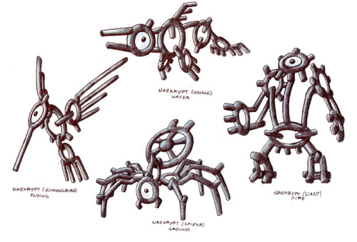 "fantasticfakemon:  Awesome concept for Unown evolutions.  You get each by having Unowns in your party that spell out ""WHALE"", ""SPIDER"", ""GIANT"", or ""BIRD"" and touching a specific tablet in-game. EDIT: Also based on the Nazca lines, I tagged it, just forget to mention it here.  :) Nazkrypt Water, Ground, Fire, or Flying depending upon certain conditions. Source. Artist: darksilvania"