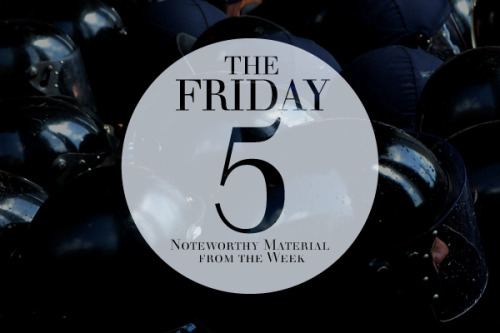 Click through and check out The Friday Five, a weekly round-up of whatever peaks my interest in the form of crazy news, interesting topics or overall cool material.  Because all good things come in fives - The Jacksons, New Edition and The Power Rangers (until the Green and White ones had to go and mess the whole formula up).