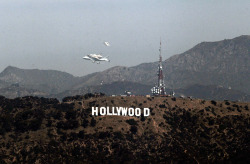 Endeavour's last flight over the Hollywood Sign