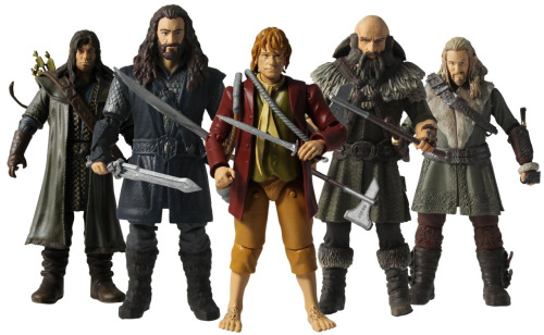 Action figures from THE HOBBIT: AN UNEXPECTED JOURNEY film series - Fili, Thorin Oakenshield, Bilbo, Dwalin, Kili
