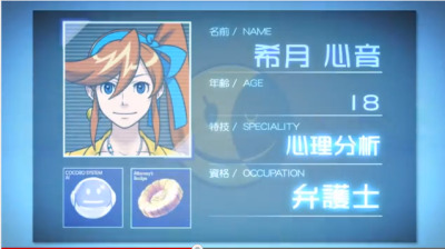17cupsofdarkcoffee:  Name: Kizuki Kokone. Speciality: psychological analysis. Occupation: Attorney. Srsly? 18 and already an attorney?. I'm 19 and i don't even know how to cook.