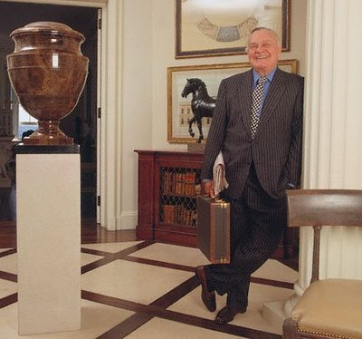 Mr. Blass in the foyer of his apartment in Sutton Place, New York City