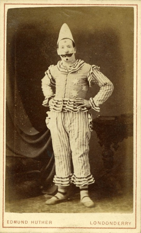 ca. 1869-1900, [carte de visite portrait of a clown in costume], Edmund Huther via Jeffery Kraus, Antique Photographics