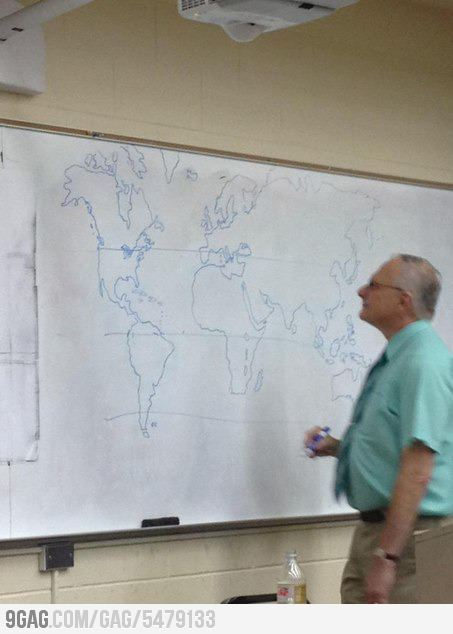 9gag:  Teacher didn't have a map, so he drew one by himself.