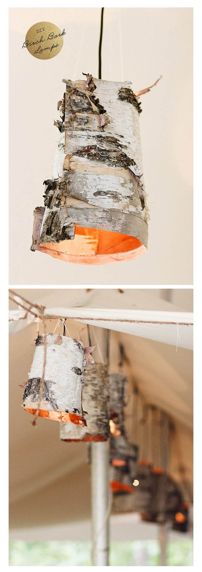 Image: Birch Bark Lamp DIY via Ruffled I'm smitten by this birch bark lamp DIY! I realize that this was made for a wedding, but one or two of these hanging in my home would work just as well:)