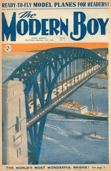 The Modern Boy #84 - An impression of Sydney Harbour Bridge two and a half years before it opened, in March 1932. Issue dated September 4, 1929.