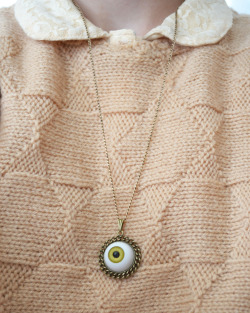 tiredtalk:  spooky eyeball necklace on etsy