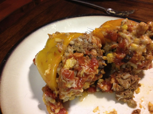 Stuffed Peppers  Love these and they are so easy! 6 peppers, any color, slice the tops off and core.  Take 1 can black olives 1 can creamed corn 1.5lb ground meat (I used venison) 3tbl or 1 packet taco seasoning 1/2c instant rice 1 cup shredded cheese  Blend in bowl all of the above ingredients and add in the chopped pepper tops Stuff the peppers evenly with the mixture and place in crockpot  In a small bowl combine 1 can tomato soup & 1 can rotel tomatoes. Pour over peppers. Top with more cheese and cook on low for 6-8hrs or high 3-4  So easy! And since almost everything comes from a can (that part I don't love) its usually items we have on hand.   I love my crockpot and for some reason use it much more in the winter, so get ready for those recipes!