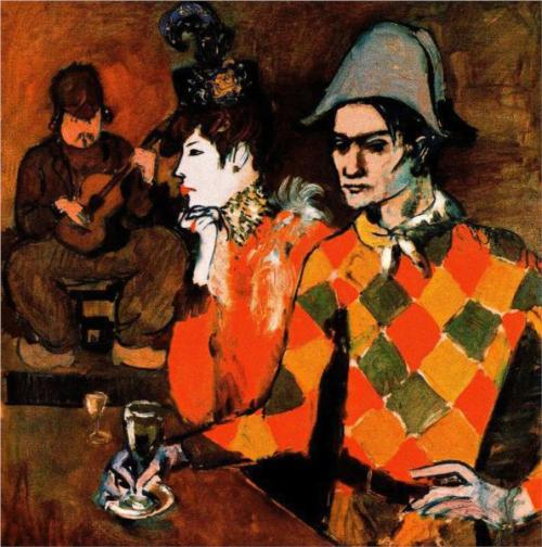 Pablo Picasso, Harlequin with Glass, 1905.