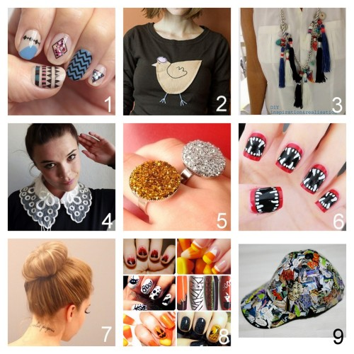 Roundup Nine DIY Jewelry, Beauty, Accessories and Fashion Tutorials PART THREE. Roundup of this past week. September 23rd - September 29th, 2012. *For past roundups go here: trebluemeandyou.tumblr.com/tagged/roundup Waterslide Decal Nail Art Tutorial with Free Printable Designs from Small Good Things here. J.Crew French Hen Sweater Tutorial from Kittenhood here. Matthew Williamson Tassel Necklace Tutorial from inspiration & realisation here. Louis Vuitton Inspired Collar Tutorial from Make My Lemonade here. DIY Two Statement Ring Tutorials from BuzzFeed's Craft Wars Series here. Photo: DIYDruzy Style Glitter Ring from A Splendid Assemblage. Halloween Vampire Nail Art Video Tutorial from Polish and Pearls here.via halloweencrafts Sock Bun Tutorial from Dream, Create here. Roundup of Halloween Nail Art from …Love Maegan here. Comic Book Baseball Cap Tutorial from aetienne here.