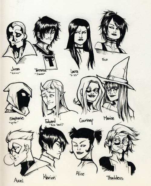 youngtitan213:  whittingtonb:  youngtitan213:  I drew headshots in between classes all week. Filled up the page quite nicely I suppose. ;^^  OH MY GOD, someone drew Trauma!!  YESSSSS. YES AHGLKSGJS I WANT TO DO A FULL BODY FULL COLOUR SOMETHING SOMETHING FOR TRAUMA BECAUSE I LOVE HIM SO MUHUHUCH. *______*  THIS IS LITERALLY A PAGE FULL OF THINGS I LOVE HI I MEAN, WHO EVEN DRAWS MAXINE EVER UNLESS IT'S SEXY NO ONE I LOVE YOU OH MY GOD I WAS SO DISTRACTED BY STEPH AND MAXINE AND COURTNEY AND EDDIE AND -LORI- THAT I ALMOST TOTALLY MISSED AXEL AND THAD IF THIS PAGE HAD OWEN AND WITHER ON IT, I'D BE LIKE, INTERNET GO HOME I am so happy about this page omg