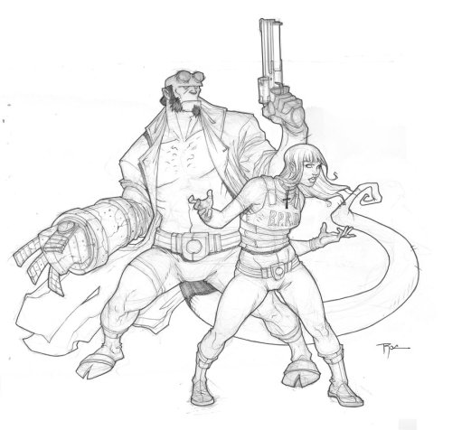 Hellboy and Liz by Johnny Rocwell & Kelley Harris Artist blog  (via bluedogeyes)