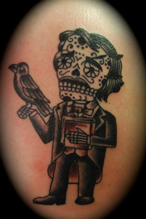 fuckyeahtattoos:  I've been a pretty big Edgar Allan Poe fan since my sixth grade language arts class did a section on the Pit and the Pendulum, and I completely fell in love with this Jose Pulido print as soon as I saw it. This was taken right after it was finished, in July. It was modified a little bit so the details on the skull didn't bleed together. Done by Justin Cartwright at Five Star Tattoo in Louisville, Kentucky.