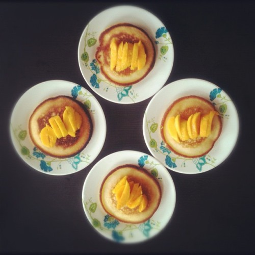 Made Breakfast for the family earlier. Pancake with mango. #instafood #igerscebu #instagood #pancake #mango  (Taken with Instagram)