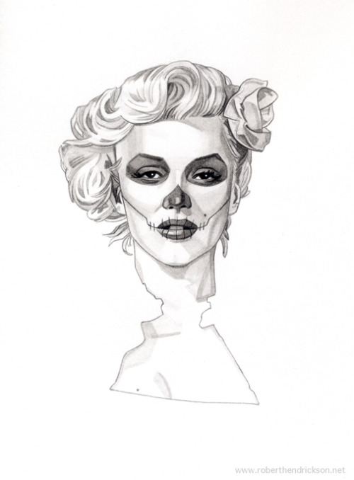 different-reflection:  eatsleepdraw:  Dia de los Muertos Marilyn Monroe by Robert Hendrickson http://hendricksonart.tumblr.com