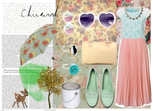 Pastel dreaming in such a grey day by robbie featuring a pleated chiffon skirt