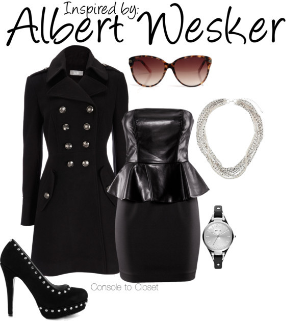 Albert Wesker (Resident Evil 5) by ladysnip3r featuring hardware jewelry This outfit is inspired by everyone's favorite sociopath, Albert Wesker. I chose to do a girl outfit because I imagined his in-game outfit translating to a sort of dominatrix meets secretary look. I chose a black trench coat paired with a black dress. I also chose black studded pumps and silver jewelry. I also wanted to capture his red eyes, so I went with burgundy tinted sunglasses. (Reference Image) H&M zipper dress, $49 / Wallis double breasted military coat / Mi Lajki studded platform heels, $84 / FOSSIL hardware jewelry / Wallis necklace / Jigsaw gold sunglasses, $96