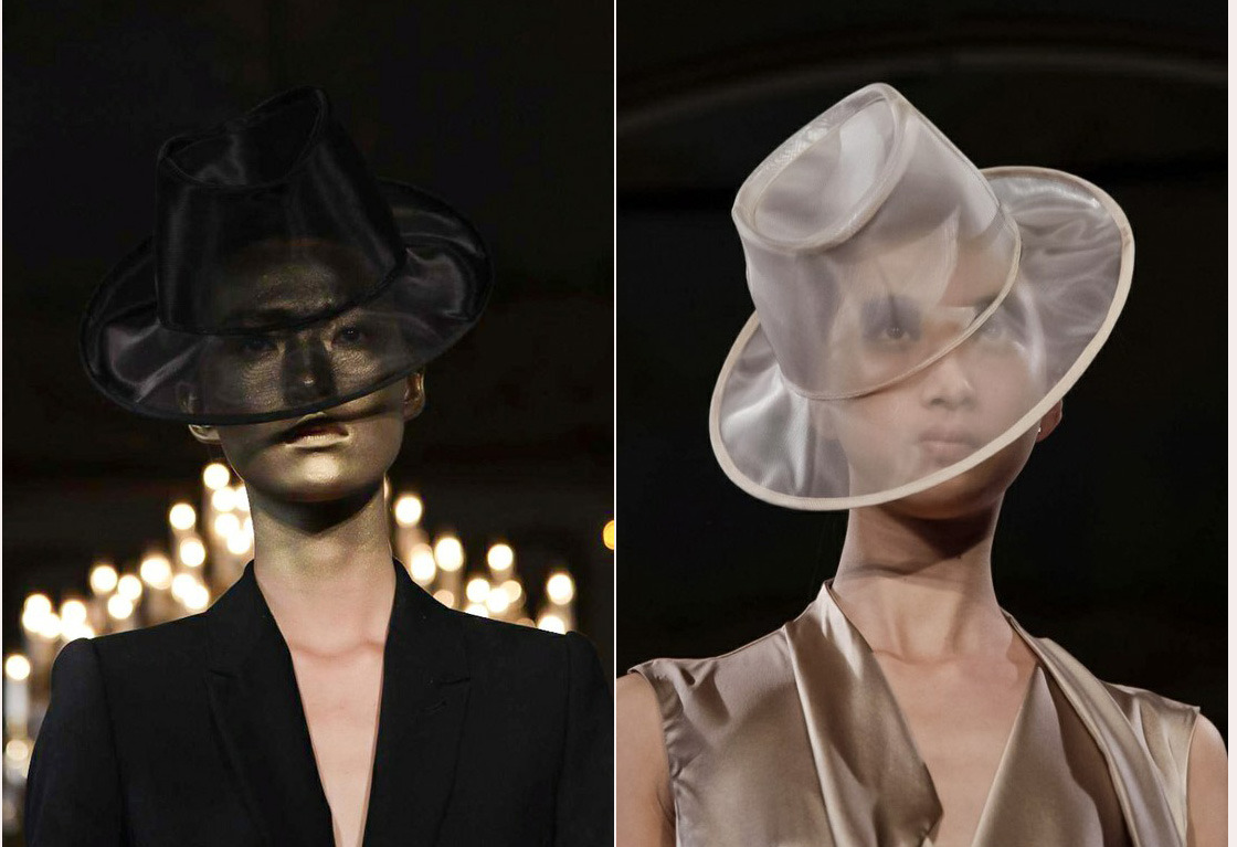 #CirqueduInsane Jet and Ivory sheer Fedora looks from A.F. Vandevorst S/S 2013 #PFW
