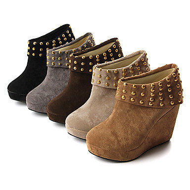 Suede Upper Wedge Heel Ankle Boots With Rivet Party/ Evening Shoes More Colors Available - GBP £ 27.23 on We Heart It. http://weheartit.com/entry/38640780