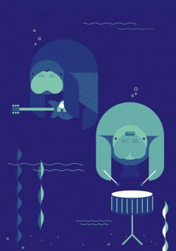 occasionalmanatee:  Cute manatee band illustration! By Skinny Ships on Flickr.