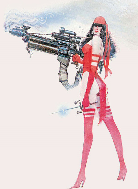 Cover illustration to the Elektra: Assassin trade paperback, by Bill Sienkiewicz