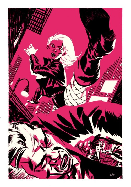 Gouache and ink painting of Black Canary in fuschia by Michael Cho.  A lesser artist probably would have placed a flying tooth somewhere in there, but no, he knows this is good.  This is just enough face kicking.