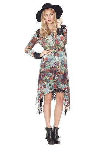JEWELED FLOWER LACE AND GEORGETTE DRESS
