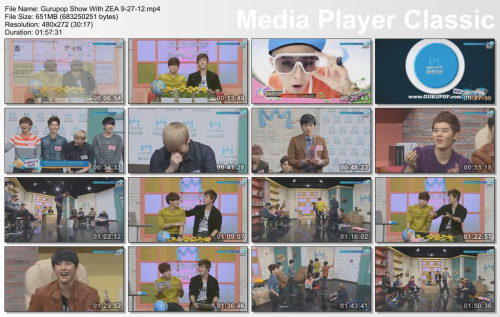 aznbombr1022:  Gurupop Show With ZE:A 9-27-12 http://www.mediafire.com/?0cynp0k5lghi5m1 Part 1 - Mediafire http://www.mediafire.com/?k5bum6l2u8870vl Part 2 http://www.mediafire.com/?k1a4km5xrrlhd98 Part 3 http://www.mediafire.com/?q3d93p3axhpzsmq Part 4 Put Together With HJSplit IPod Touch & IPhone Ready Use Quicktime Player or Itunes to watch on the PC