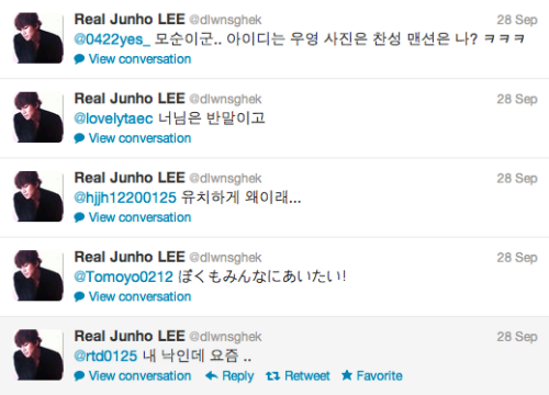 "[TRANS - JUNHO FAN REPLIES]  @dlwnsghek Who are you who are eating this meal? pic.twitter.com/oqhCZjpu@/rtd0125: Oppa, give me your phone for just a minute. I'll give it back to you once I've deleted that filter for you@dlwnsghek: I have been addicted to it lately..@/hjjh12200125: A guy full of sense who upload at It-Hour ㅋㅋ When will It-Hour happen~~~~~~@dlwnsghek: So childish, what's wrong with you..@/lovelytaec: You? *in informal speech*@dlwnsghek: You're speaking informal, you know?Random fan replies@'0422yes_: If I call you ""Oppa~~~~~"" like this, you should reply with ""Why did you call me baby?"" like that@dlwnsghek: What is this..a fan whose id name is Wooyoung using a picture of Chansung is sending a mention to me? ㅋㅋㅋ  Trans by bbiyak25"