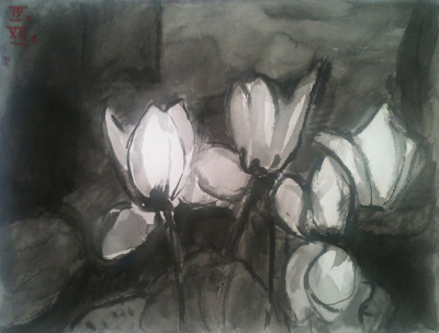 Alpenveilchen (cyclamen), ink wash on watercolor paper 56x42cm, Sept/2012 @_blacha_ on Flickr.