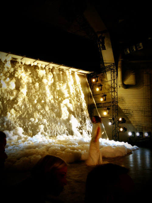 Rick Owens Spring 2013…a giant wall of foam. Amazing!