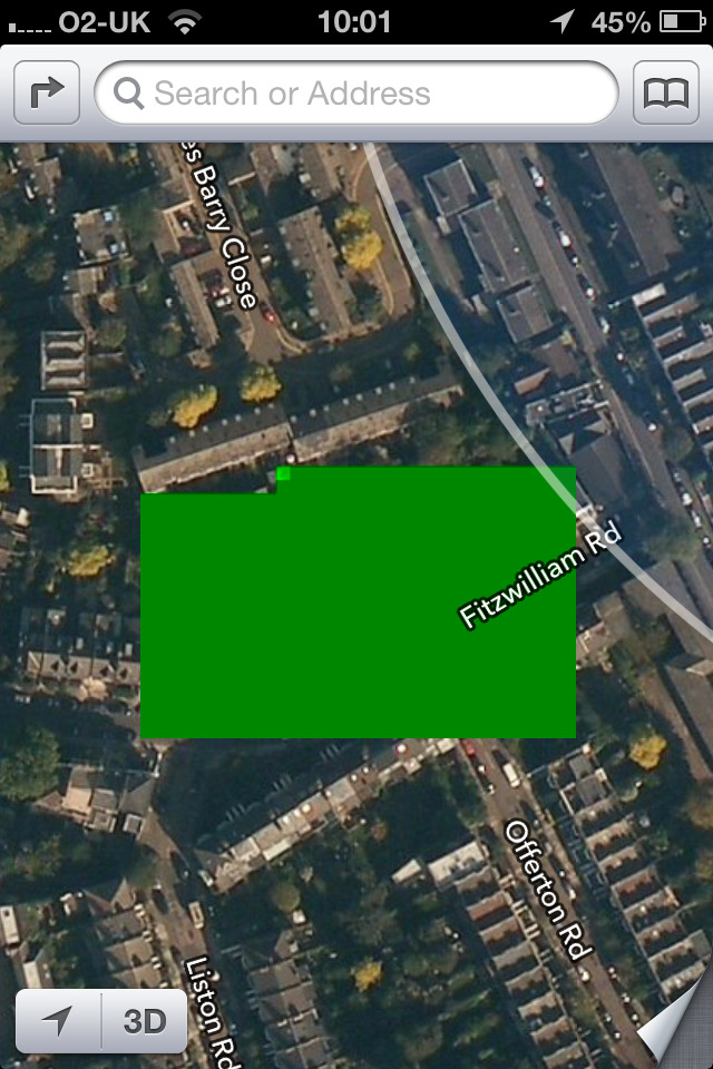 Some parts of Clapham, London appear to be censored.
