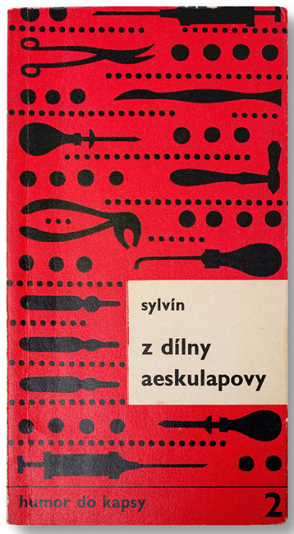 From Asclepius' Workshop.Book cover design by Miroslav Habr, Czechoslovakia, 1970. Found here.