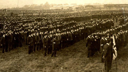 1912 members of the Ulster Volunteer Force. Tens of thousands of men enlisted to resist Irish Home Rule. Nearly all of these men went on to fight for Britain in the Great War.