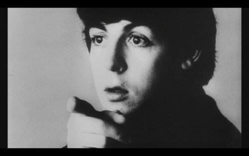 paul mccartney pointing fingers in a hard days night.