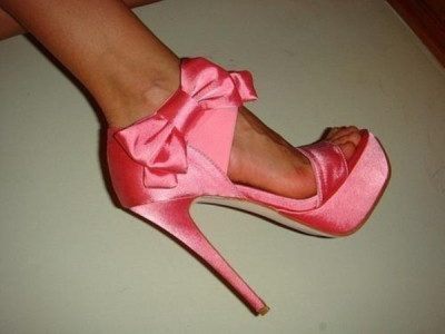 Untitled #144 by stizzy on PolyvoreArrow / Pink Satin Stiletto Platform Sandals
