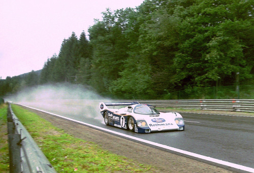 Porsche 962C - Hans-Joachim Stuck, Derek Bell & Bob Wollek at Blanchimont at the 1987 Spa 1000 Kms