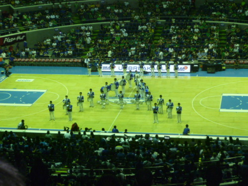 Congratulations, Ateneo!  Took this photo during the Blue Babble Battalion's performance during halftime!