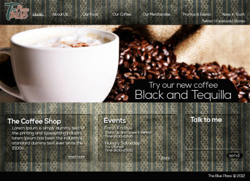 A Grunge Web Design for a coffee shop this was our assignment last week. I suck at web design but I'm working hard to be better :)