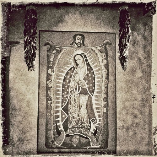 St Juan Diego and the Tilma with the image of Our Lady of Guadalupe.