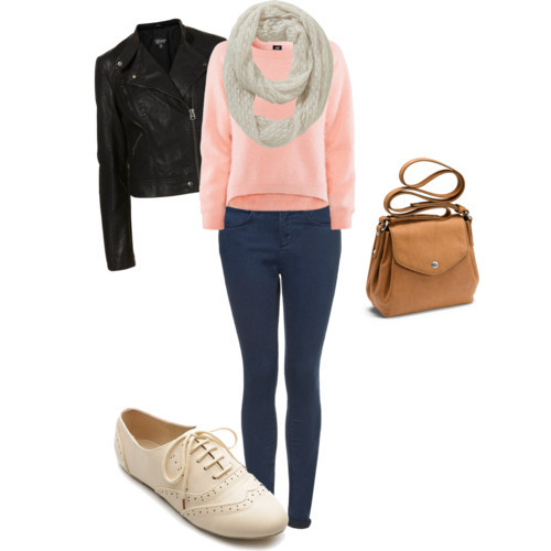 inspired outfit for visiting family when its cold :) sweater: H&M 30$ jeans: topshop 76$ jacket: topshop 110$ scarf: F&F 10$ shoes: Amazon 18$ purse: ECCO