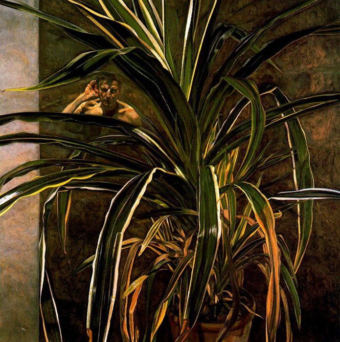 Lucian Freud, Interior with Plant, Reflection Listening (Self-Portrait), 1968.