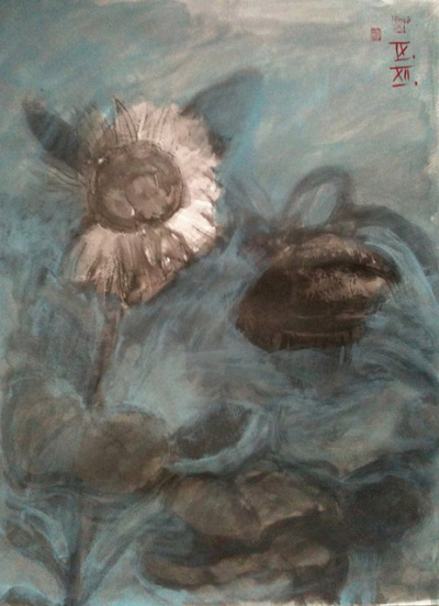 sunflowers, ink wash and gouache on watercolor paper 42x56cm, Sept/2012 @_blacha_ on Flickr.