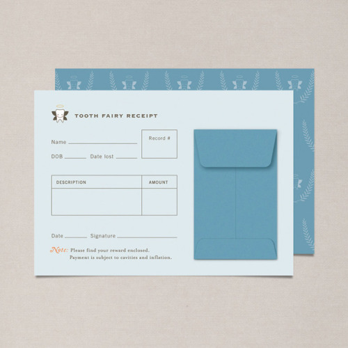 laughingsquid:  Tooth Fairy Receipts, Cute Stationery For Kids Who Have Lost a Tooth