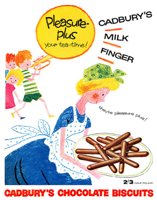 Cadbury's Milk Finger advertisement. by totallymystified on Flickr.  Via Flickr: From Woman's Day magazine, week ending 10th October, 1959.
