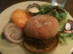 092712: Lunch out, at Crescent Cafe, my favorite restaurant: Burger + Salad: the burger at CC is always a wonderful treat. Meat from their own freaking farm, ground fresh that morning. Yellow tomato, red onion, lime mayo. Simple, elegant, divine. Little mixed greens salad with a few sliced beets and radishes, dressed in an apple vinaigrette. Aces.