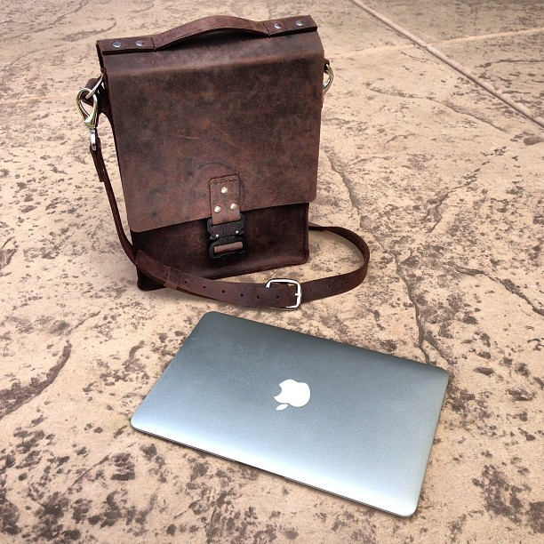 "I made this bag! Full grain leather, hand-stitched. Fits an 11"" MacBook Air and a couple books. (Taken with Instagram)"